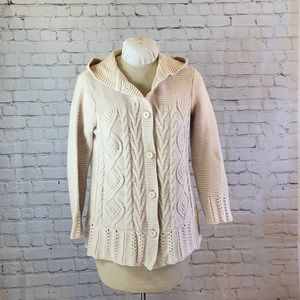 BCBGMax cotton cable knit cardigan w hood